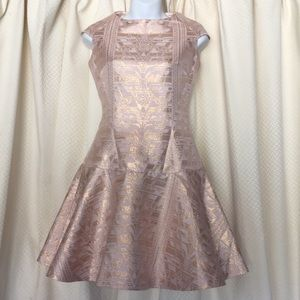 Ted Baker champagne gold dress Sz 0